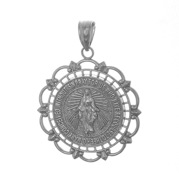 Million Charms Jewelry | 14k Gold Miraculous Medal With Scallop ...